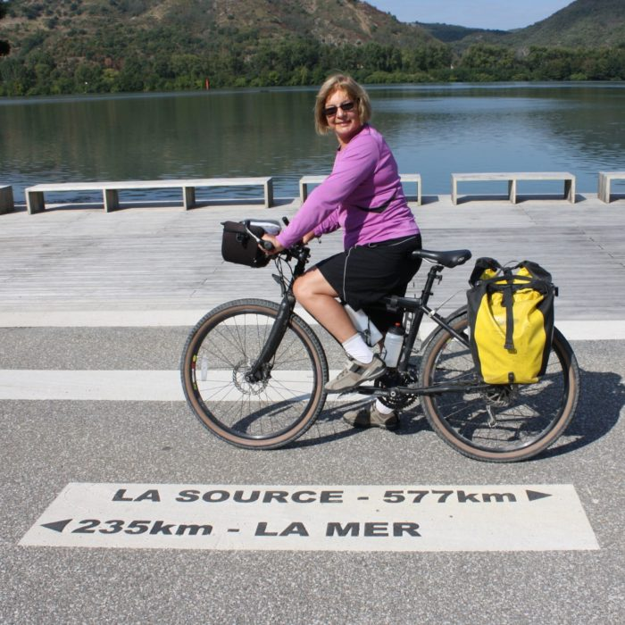 This Road Marking In  Laveyron Shows The Distance Between Source And Sea