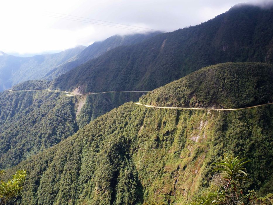 Looking Back At  Death Road In  Bolivia