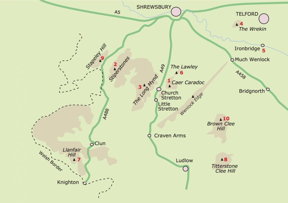 Shropshire Hillwalking Map
