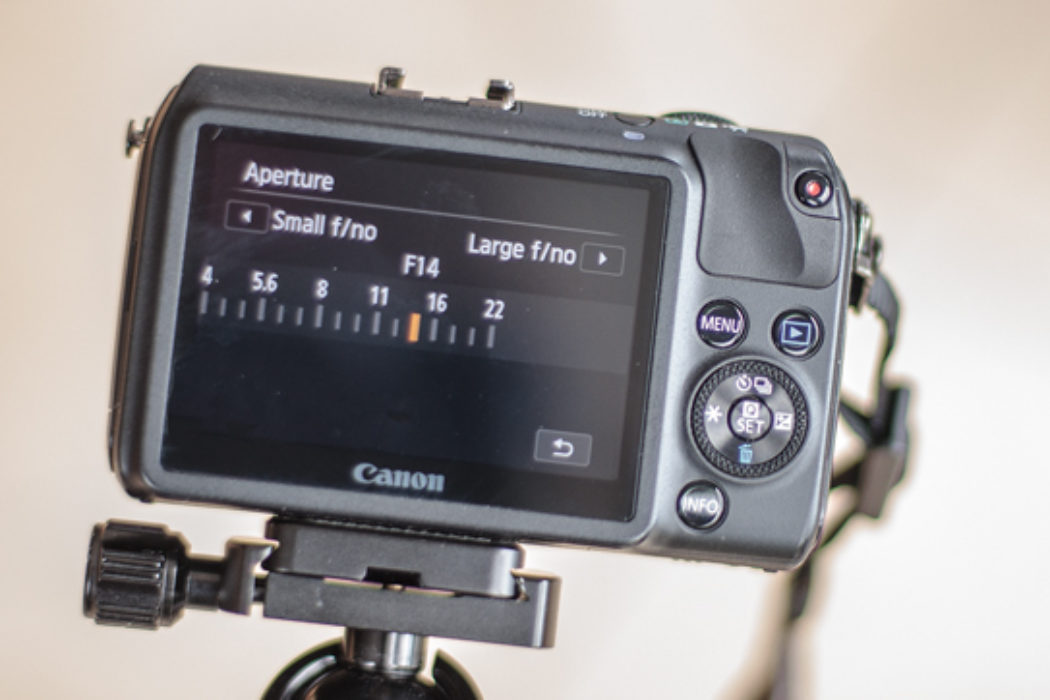 Set the aperture for a large depth of field