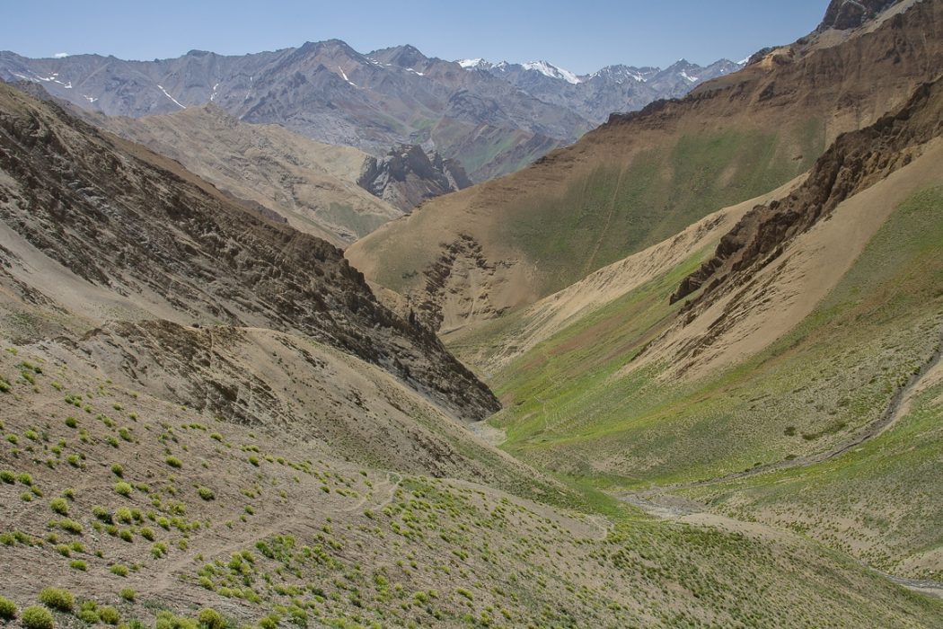 The valley between the Barmi pass and Lingshed Sumdo. You follow traverses across beautiful meadows. Zanskar Mountains all around.