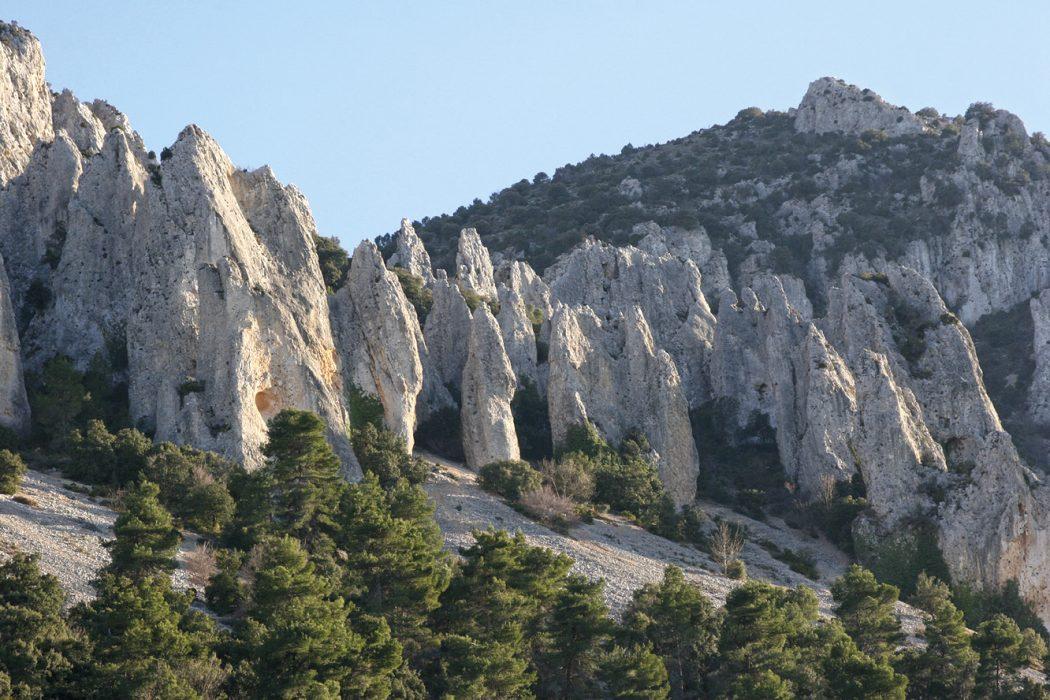 The striking pinnacles of Los Aguilles de Frares, near Castell de Castells, Alicante