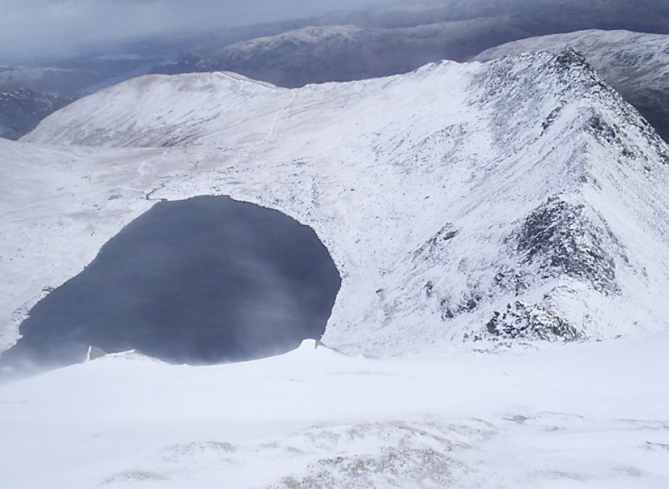 Red Tarn and Striding Edge winter Lake District