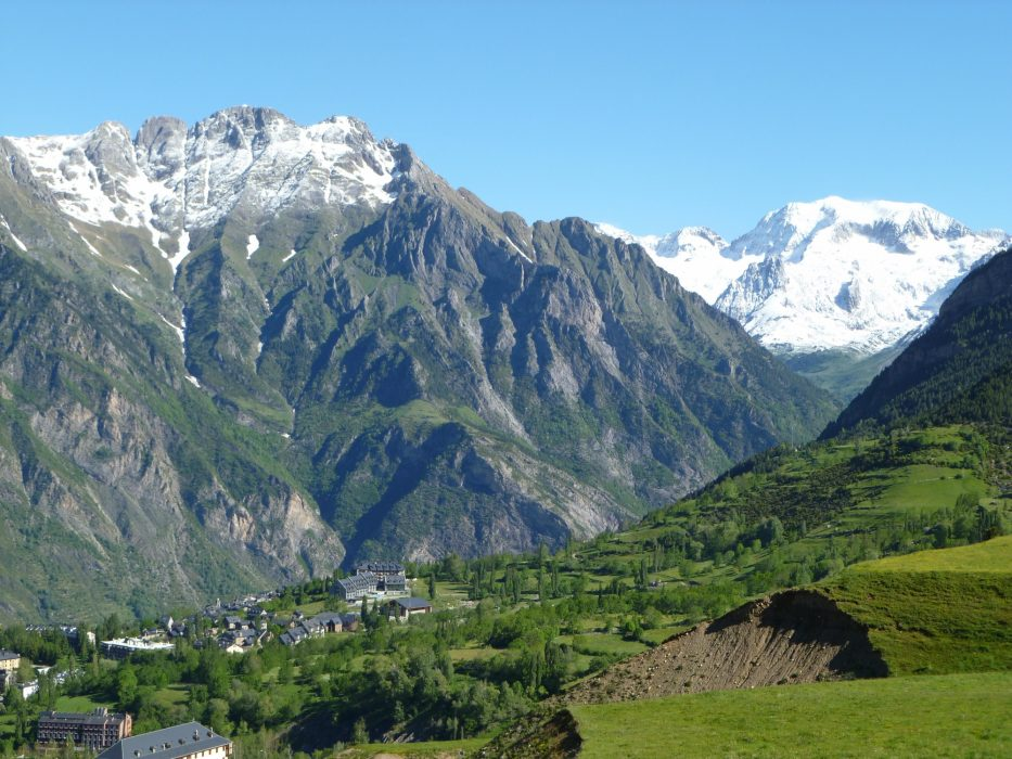 Benasque where it all began with the snowy bulk of Pic de Perdiguero in the distance
