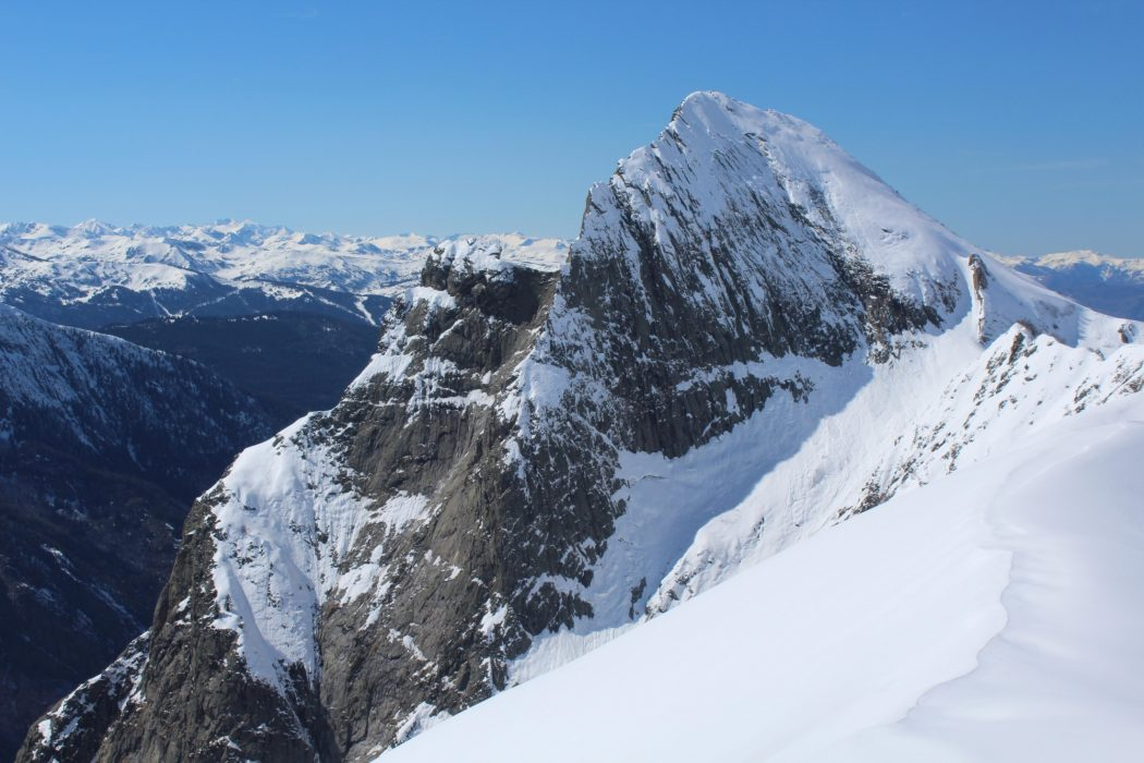 The mighty rock tooth of Dent d Orlu in its winter garb