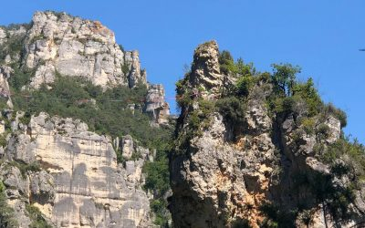 Climbers high on the rocky towers