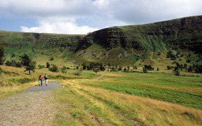 Walking along Sarn Helen with Craig Cwm-du in the distance