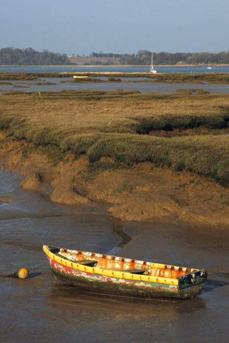 Boat on a creek on the Shotley Marshes