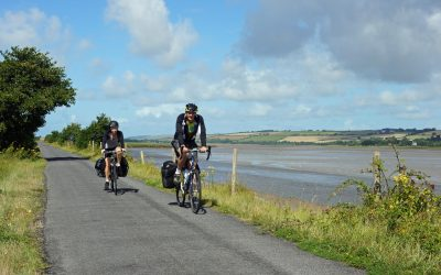 Cycle touring on the Tarka Trail near Barnstaple