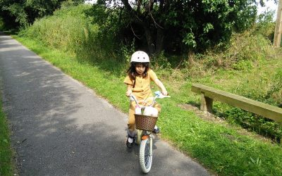 The author's granddaughter on the York to Selby cycle path