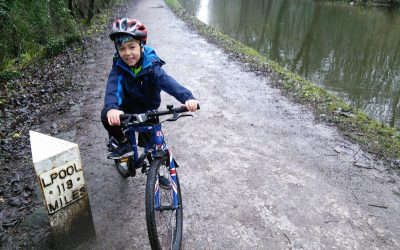 The author's grandson on the Leeds & Liverpool Canal