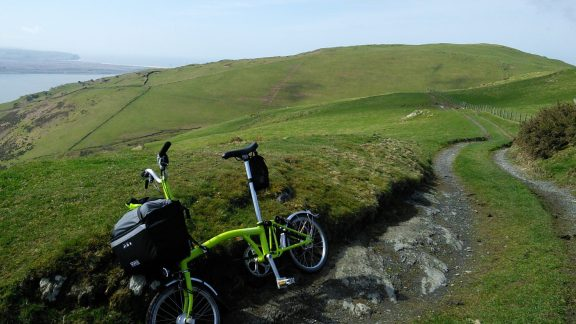 The author's Brompton above Machynlleth in mid-Wales