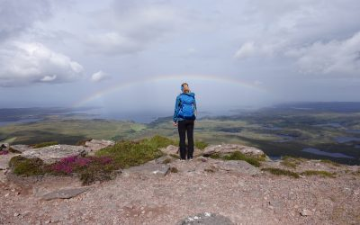 A rainbow greeted us on the summit of Stac Pollaidh looking west