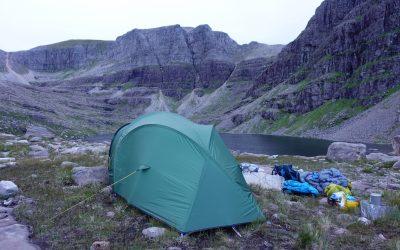 Camp in Coire Mhic Fhearchair below Beinn Eighe's famous Triple Buttress