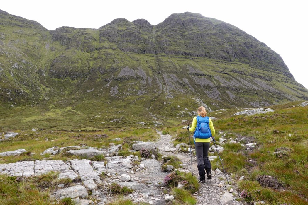 Access to Suilven's summit ridge is made by an alpine path which snakes its way up to a col on the left