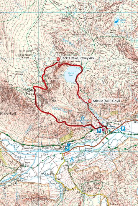 Scrambles in the Lake District -  Jack's Rake map