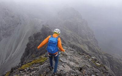 TH The descent off Sgurr Thearlaich was where it began hailing