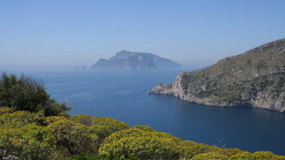 The Monti Lattari Slope Down To The Tyrrhenian Sea With The Island Of Capri Beyond