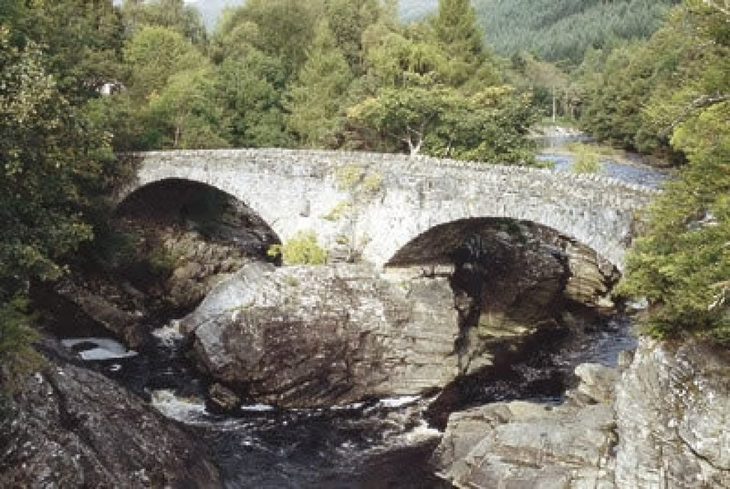 The Old Bridge, or Telford's Bridge, is slowly crumbling away and can be viewed from the nearby road bridge.
