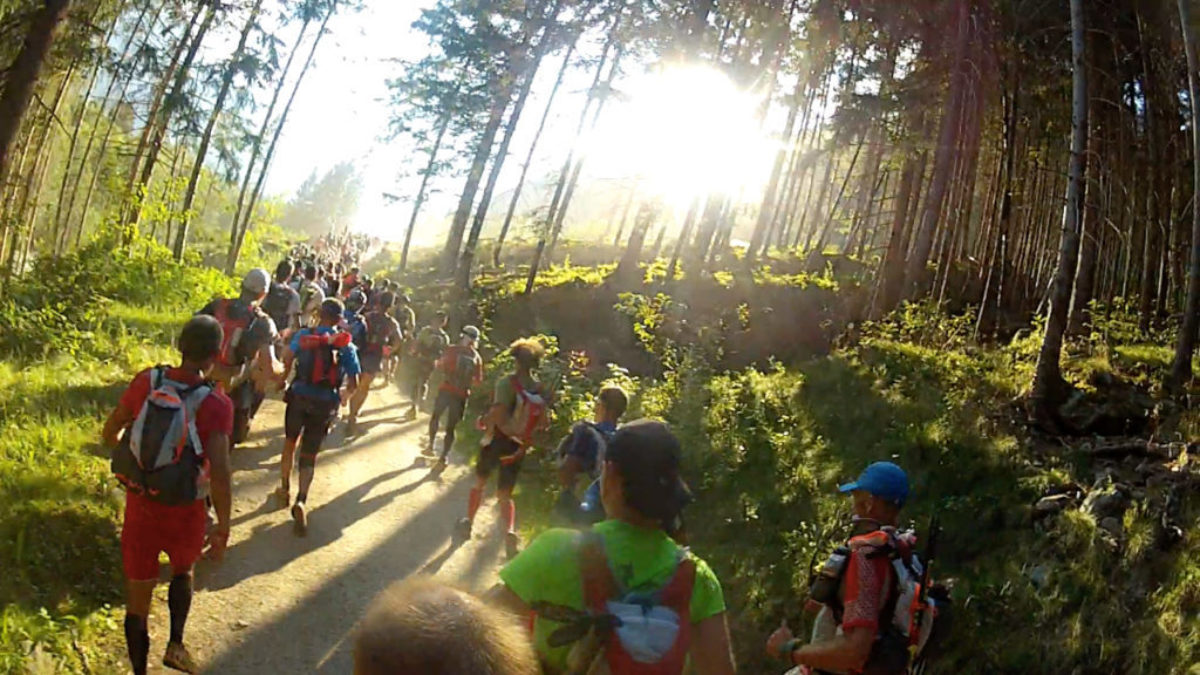 Busy Running In The Afternoon Light To Les Houches At The Start Of The Race