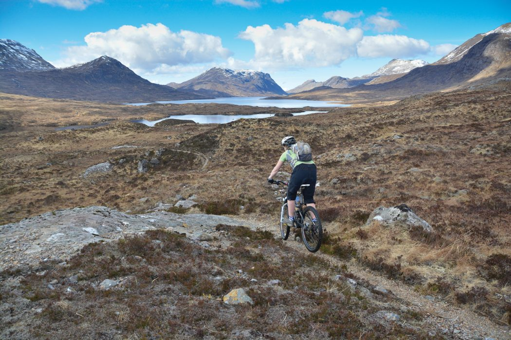 Sweeping singletrack on the way to Lochan Fada