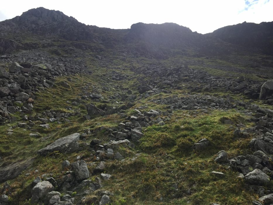 Looking back up at my descent on Crinkle Crags.