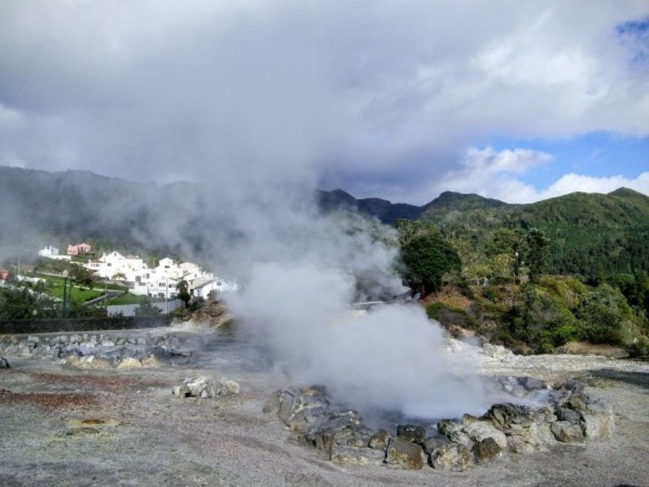 """Mustn't land myself in hot water! Geothermal springs at Furnas on the island of São Miguel."""