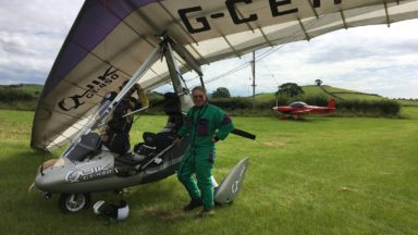 Jonathan takes a birthday trip in a microlight