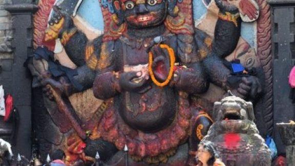 The Undamaged Stone Image Of The Kala Bhairab In Kathmandu