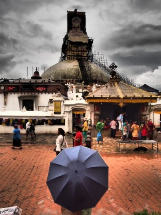 The Worlds Largest Stupa At Boudhanath Is Still Under Scaffolding Whilst Being Repaired
