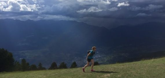 Racing the incoming thunderstorm to get to the Citta de Bressanone rifugio at the end of our first afternoon