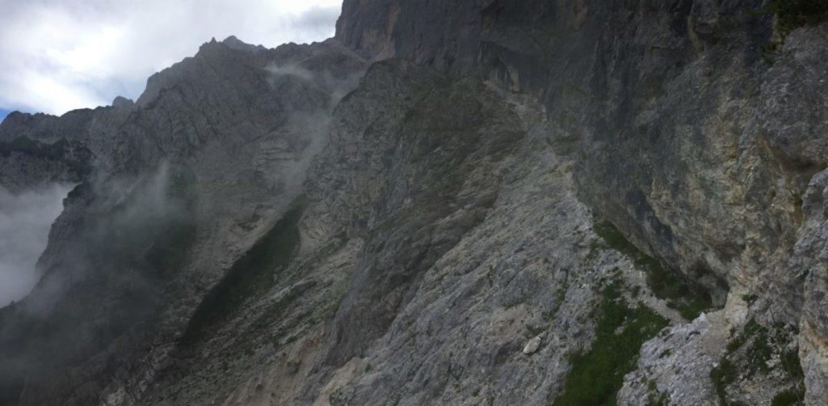 Steep paths climb massive slopes on AV2 in the Dolomites