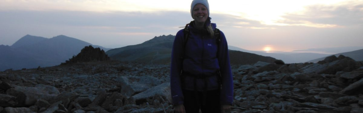 Ali Near The Summit Of Glyder Fach As The Sun Falls Into The Sea