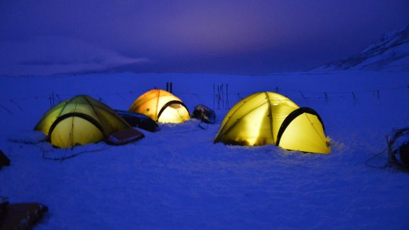 Tents in the dark