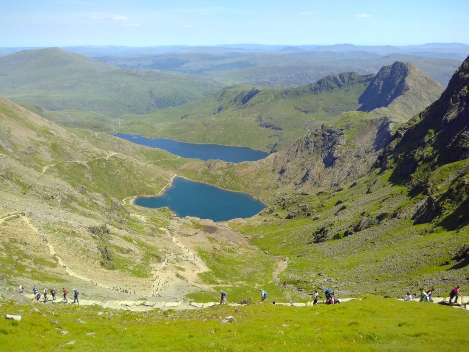 Walkers On The Pyg Track With Y Lliwedd On The Right