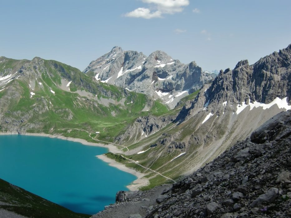 Kirchlispitzen and the Lünersee, seen from the Totalp Hut