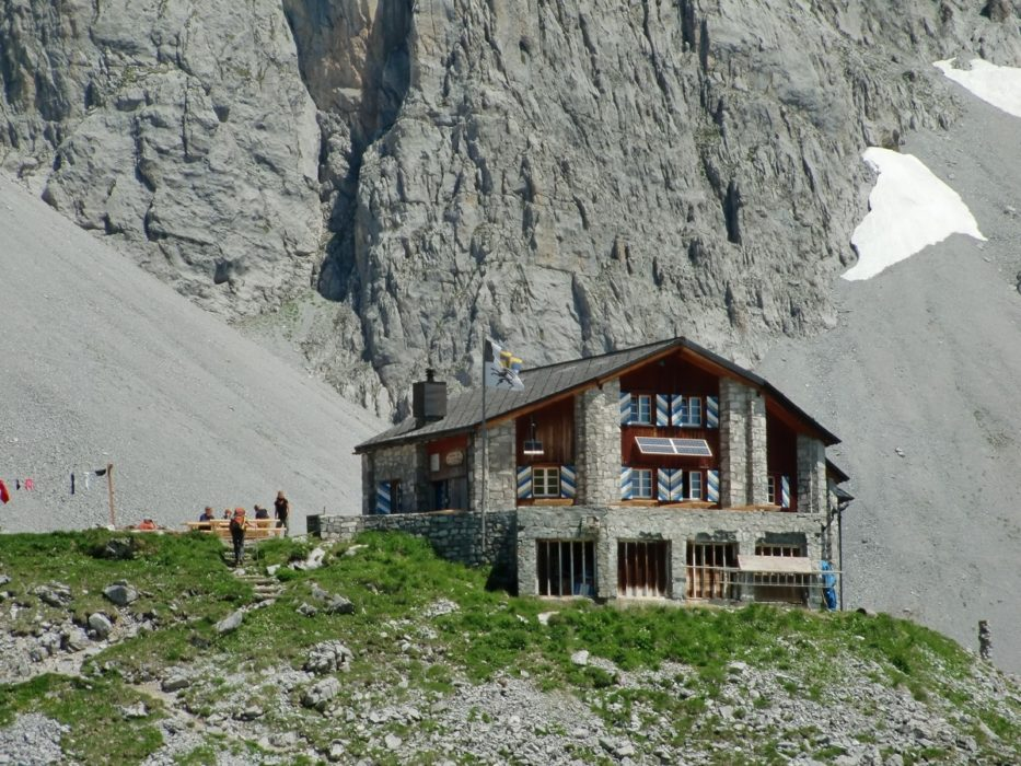 The Carschina Hut, dwarfed by the Sulzfluh