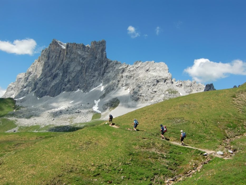 The Drusenfluh dominates the scene on departing the Carschina Hut