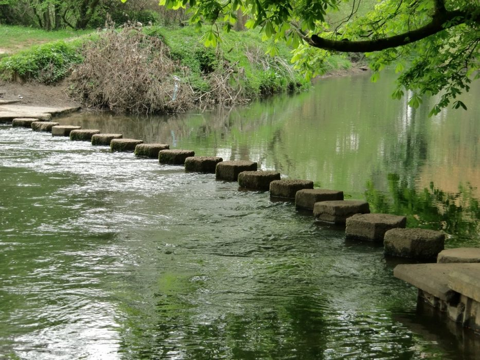Stepping stones carry the route across the River Mole