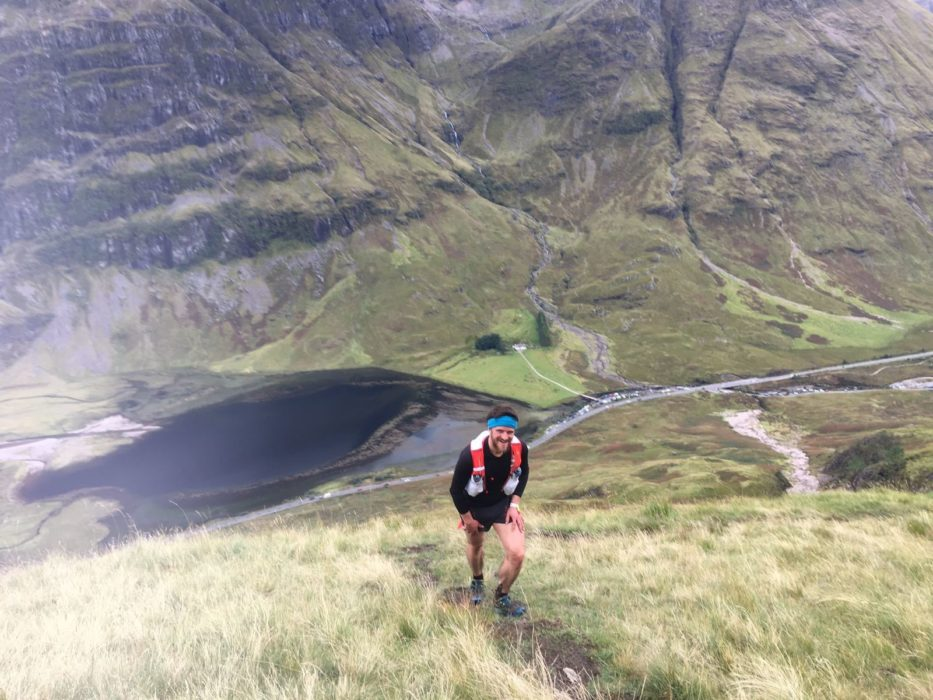 Climbing up to the Aonach Eagach ridge