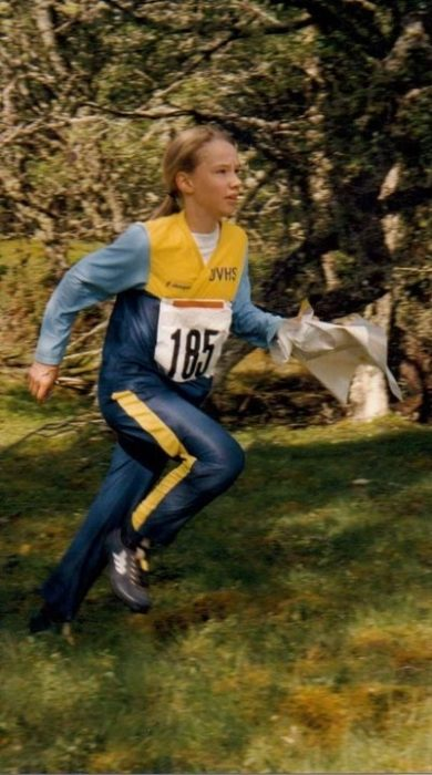 Natalie in her orienteering days. Scottish Relays, Anagach Woods