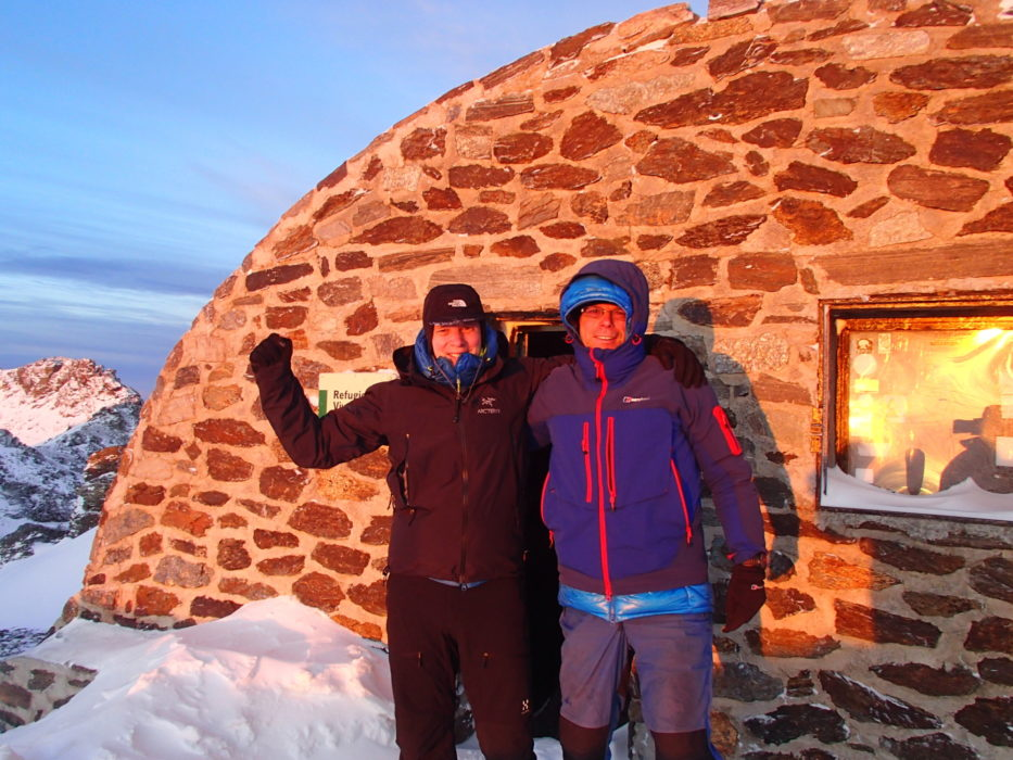 8 The Author And His Brother Enjoying The First Rays Of The Sun At The Refugio De Carihuela