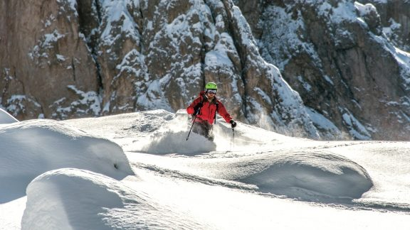 Deep powder in the lower half of the descent from Forcella Sassolungo Nord