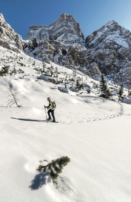 Snow shoeing under Pelmo