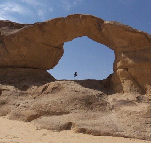 Kharazeh rock bridge, the Jordan trail's gateway to Wadi Rum